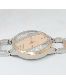 2 TONE STYLISH DIAL DESIGN METAL WRIST FASHION WATCH FOR WOMEN / GIRLS