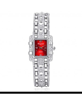 SILVER CHAIN WITH REED DIAL FASHION WRIST WATCH FOR WOMEN