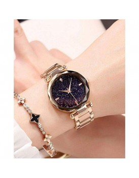 LADIES WRIST WATCH ROES GOLD CHAIN WITH STARRY SKY DIAL